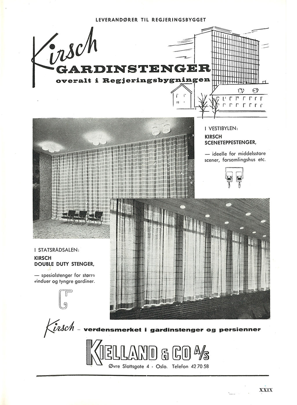 Kirsch gardinstenger fra Kielland & co AS