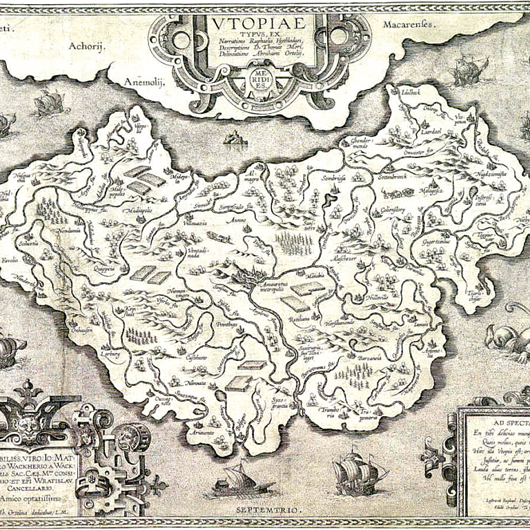 Kart over Utopia. Fra Thomas Mores Utopia, 1516.