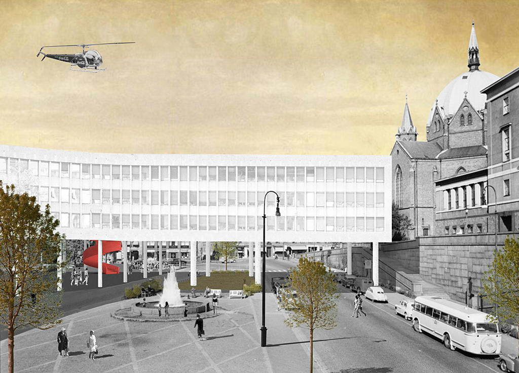 Arne Garborg's plass was an open square in front of the fire station and the Deichmanske Library.  This proposal suggests reopening the Square as part of a revitalization of the area. Foto: Superunion Architects